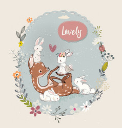 cute summer deer with hares vector image vector image