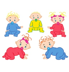 Five babies isolated on white background vector image vector image