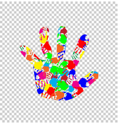 ilhouette of baby hand with colorful handprint vector image