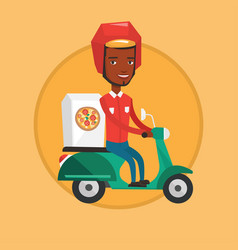 man delivering pizza on scooter vector image