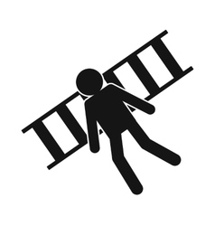 Man laying on railroad tracks icon vector