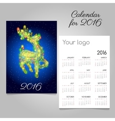 two-sided calendar 2016 with reindeer garland vector image vector image