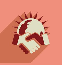 flat web icon with long shadow handshake vector image