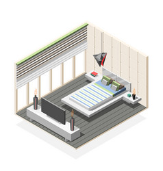 futuristic bedroom interior isometric composition vector image vector image