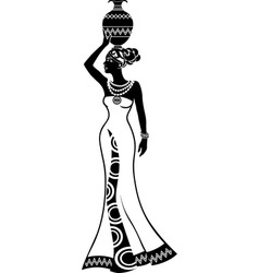 Girl with vase on head vector image