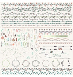 Hand drawn leaves arrows feathers wreaths vector image vector image