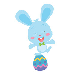 happy blue bunny with egg vector image vector image