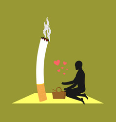 Lover smoke man and cigarette on picnic smoker in vector