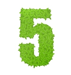Number 5 consisting of green leaves vector image