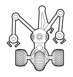 Robot with three tentacle icon outline vector