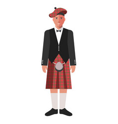 Scotsman in red kilt skirt and black jacket vector
