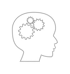 thinking head sign black dotted icon on vector image