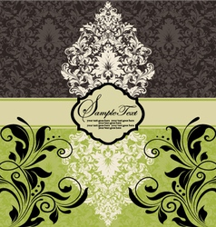 vintage damask invitation vector image vector image