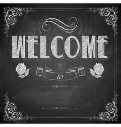 Welcome written on chalkboard vector image
