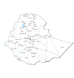 Ethiopia Black White Map vector image vector image