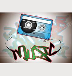 oldschool casette with graffiti vector image