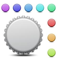 Realistic colorful bottle caps vector image