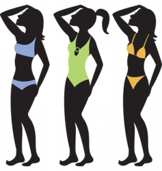 swimsuit silhouettes vector image vector image