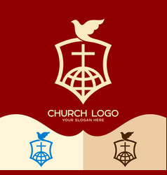 the cross of jesus the dove and the globe vector image
