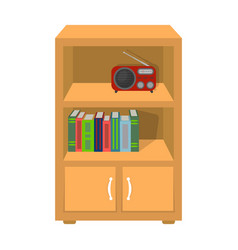 A bookcase with shelves and a radio receiver vector