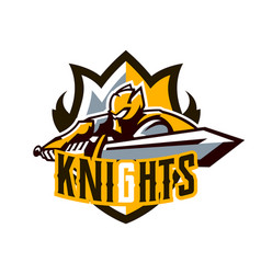a colorful logo a sticker an emblem a knight is vector image
