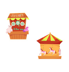 Amusement park objects icon set vector