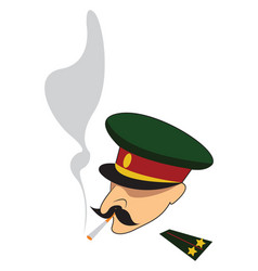 An army officer smoking a long cigarette color vector
