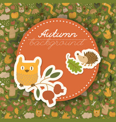 autumn characters round composition vector image