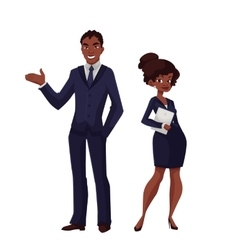 Black business man and a woman vector