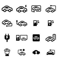 black electric car icon set vector image