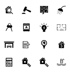 black real estate icons set vector image