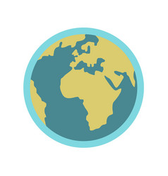 blue planet earth icon flat style vector image