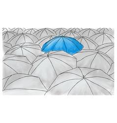 blue umbrella in the grey umbrellas - pattern vector image