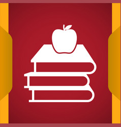 Books with apple icon for web and mobile vector
