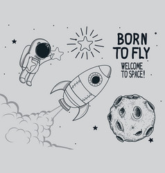born to fly vintage vector image