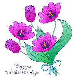 Bouquet of hand drawn tulips vector