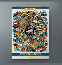 Cartoon colorful hand drawn doodles sports poster vector