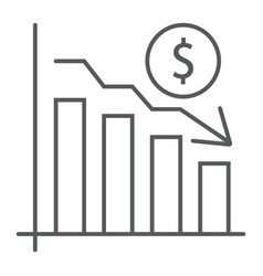 chart thin line icon finance banking decrease vector image