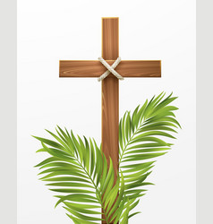 christian cross congratulations on palm sunday vector image