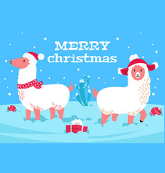 christmas alpaca holiday llama animal snowy vector image