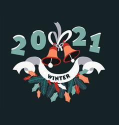 christmas and new year 2021 decorative banner vector image