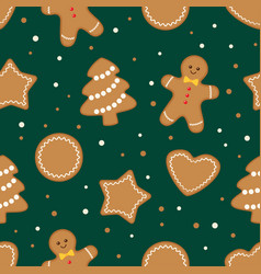 christmas cookies seamless green pattern vector image