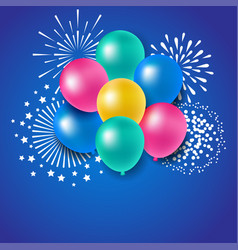 Colorful balloons with fireworks for celebration vector