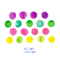 colorful watercolor spots isolated on white vector image