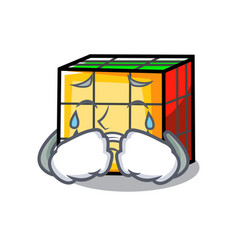 Crying rubik cube mascot cartoon vector