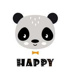 cute cartoon panda face on white background vector image