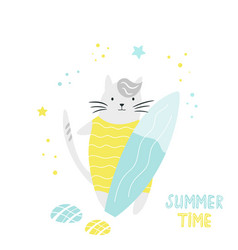 cute hand drawn cat character with surfboard vector image