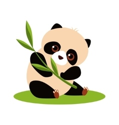 Cute Panda Eating Bamboo vector image
