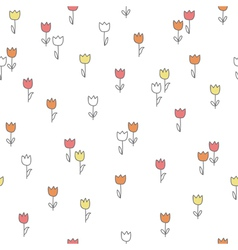 Cute seamless pattern with flowers vector