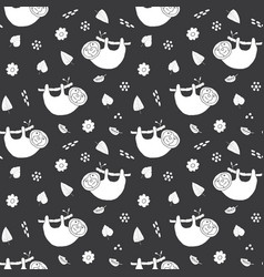 Cute sloth seamless pattern cartoon hand drawn vector